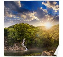 forest waterfall on hill in fog at sunset Poster