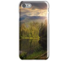 pine forest near the mountain lake at sunset iPhone Case/Skin