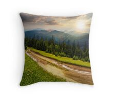 road through conifer forest in mountains at sunset Throw Pillow