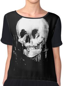 Woman with Halloween Skull Reflection In Mirror Chiffon Top