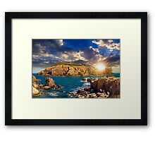 composite island with hills and castle at sunset Framed Print