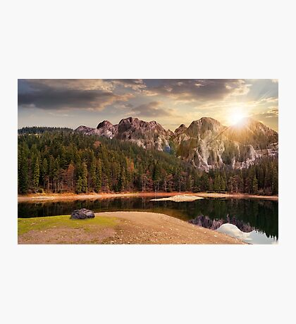 lake near the mountain in pine forest at sunset Photographic Print