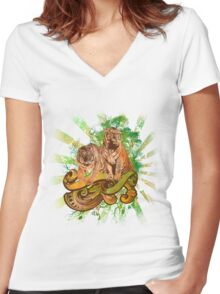 Tiger Safari Women's Fitted V-Neck T-Shirt