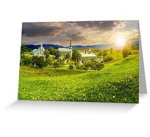 Monastery on the hillside at sunset Greeting Card