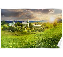 Monastery on the hillside at sunset Poster