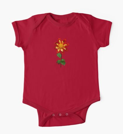 Red and Yellow Single Dahlia One Piece - Short Sleeve