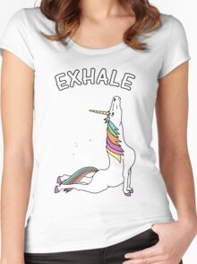 Yoga Unicorn - 'EXHALE' Cobra Pose Women's Fitted Scoop T-Shirt