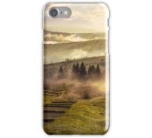 steps down to village in foggy mountains at sunset iPhone Case/Skin