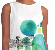 Deconstructed Dragonfly with Turquoise Circles Contrast Tank