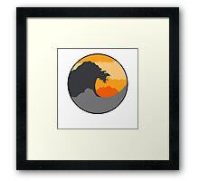 The Great Wave - Orange Framed Print