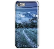 Winter in mountains meets spring in valley iPhone Case/Skin