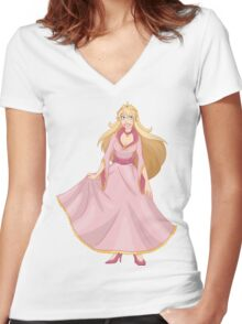 Blond Princess In Pink Yellow Dress Women's Fitted V-Neck T-Shirt