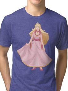 Blond Princess In Pink Yellow Dress Tri-blend T-Shirt