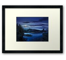 forest and river near the village in mounta at night Framed Print