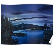 forest and river near the village in mounta at night Poster