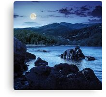 lake shore with stones near forest on mountain at night Canvas Print