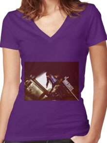 The Immediates drums Women's Fitted V-Neck T-Shirt