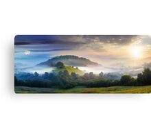 mysterious fog on hillside in rural area Canvas Print