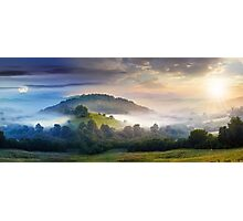 mysterious fog on hillside in rural area Photographic Print