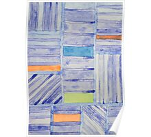 Blue Panel with Colorful Rectangles Poster