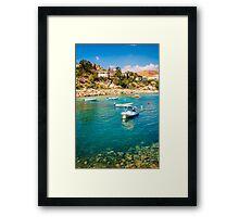 Boats at Cala del Morro Blanc Framed Print