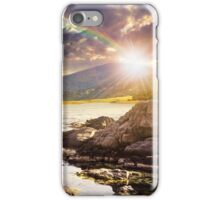 lake with boulders in mountains at sunset iPhone Case/Skin