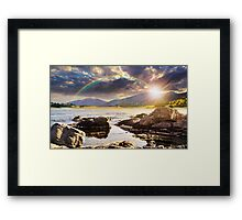 lake with boulders in mountains at sunset Framed Print