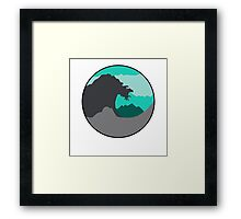 The Great Wave - Light Green Framed Print