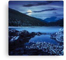 lake shore with stones near pine forest on mountain at night Canvas Print
