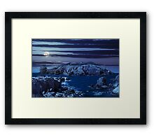 composite island with hills and castle at night Framed Print