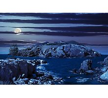 composite island with hills and castle at night Photographic Print