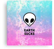 Earth Sucks Cute Funny Pastel Ombre Grunge Space Alien Turquoise Purple Galaxy  Canvas Print