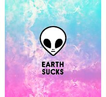 Earth Sucks Cute Funny Pastel Ombre Grunge Space Alien Turquoise Purple Galaxy  Photographic Print