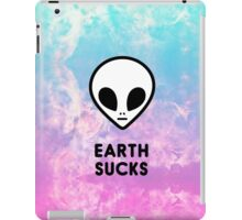 Earth Sucks Cute Funny Pastel Ombre Grunge Space Alien Turquoise Purple Galaxy  iPad Case/Skin