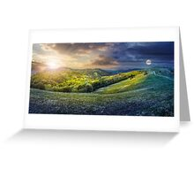 day nad night concept of Rural landscape Greeting Card