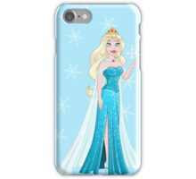 Snow Princess In Blue Dress Holds Snowflake iPhone Case/Skin
