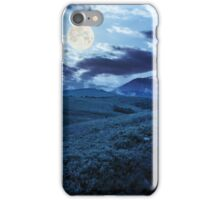 gravel road to high mountains at night iPhone Case/Skin