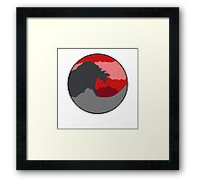 The Great Wave - Deep Red Framed Print