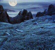 path through boulders on hillside at night Sticker