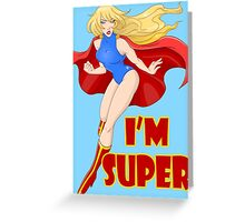 Woman Super Hero Flying With Cape Greeting Card