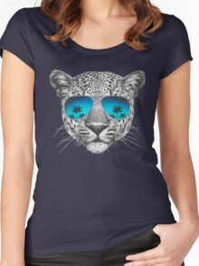 Leopard with sunglasses Women's Fitted Scoop T-Shirt