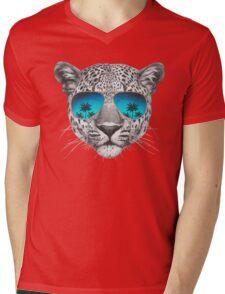 Leopard with sunglasses Mens V-Neck T-Shirt
