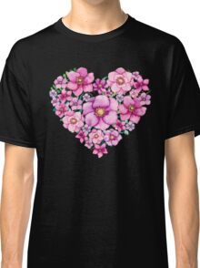 Floral Heart with Watercolor Pink Flowers, Blue and Green Leaves Classic T-Shirt