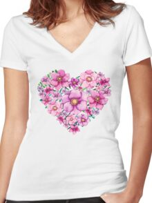 Floral Heart with Watercolor Pink Flowers, Blue and Green Leaves Women's Fitted V-Neck T-Shirt