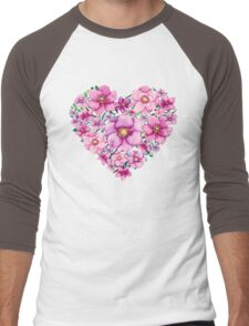 Floral Heart with Watercolor Pink Flowers, Blue and Green Leaves Men's Baseball ¾ T-Shirt