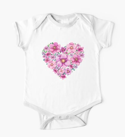 Floral Heart with Watercolor Pink Flowers, Blue and Green Leaves One Piece - Short Sleeve