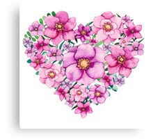 Floral Heart with Watercolor Pink Flowers, Blue and Green Leaves Canvas Print