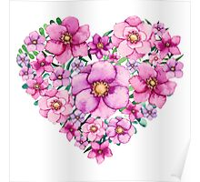 Floral Heart with Watercolor Pink Flowers, Blue and Green Leaves Poster