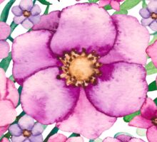 Floral Heart with Watercolor Pink Flowers, Blue and Green Leaves Sticker