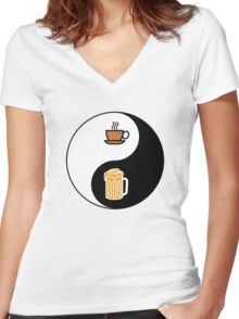 Coffee vs. Beer Women's Fitted V-Neck T-Shirt